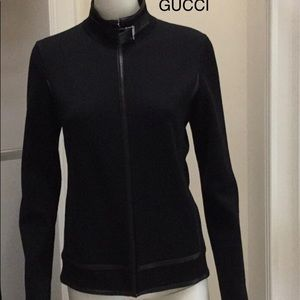 GUCCI Blk. Wool/ leather zip jacket size M
